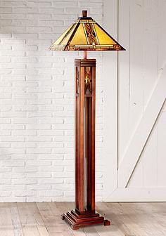 Mission tiffany lamps lighting stained glass arts crafts for Wood floor lamp plans