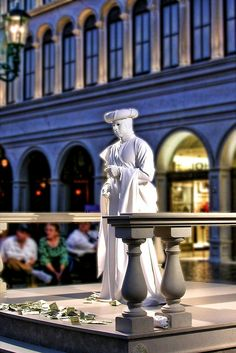 Venetian Living Statue  performs on the inside of the Venentian Hotel and Casino in Las Vegas, Nevada