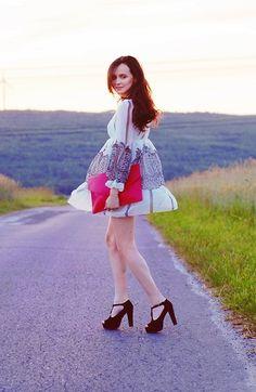 Dress, Platforms, Bag