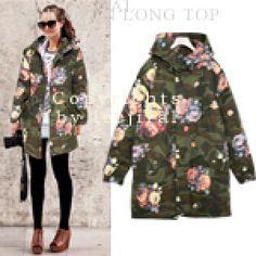 Floral and Camo Print Coat