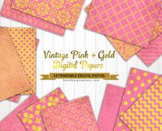 FREE 14 Digital Scrapbooking Papers in Vintage Pink and Gold Patterns : Best Design Options.- [ The download file is password-protected to prevent hotlinking. ]