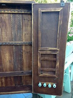 Tree Design Doors - Jewelry Holder - Necklace - Cabinet - Wood - Wooden - Handmade - Furniture  ♥ Measures: 30 Tall x 22 Wide x 4.5 Deep (NOTE: The one shown is this size)  See all notes!  PLEASE NOTE; To hang these cabinets, you will need to secure to your wall studs or use the appropriate wall anchors by screwing directly through the inside back panel of the jewelry cabinet. We do not provide the screws or wall anchors because we never know what the customer will need for their wall type…
