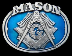 MASON MASONARY CONSTRUCTION BUILDER  BLUE BELT BUCKLE BELTS BUCKLES