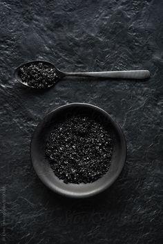 Black image, charcoal sea salt crystals on dark crockery and slate Dark Photography, Food Photography, Photography Portfolio, Black Like Me, Black And White, Black Sea Salt, Sauce Barbecue, Black Food, Fade To Black