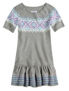 05650e93048  11.19 - Nwt Justice Girls Gray Fair Isle Sequin Metallic Sweater Dress U  Pick Size