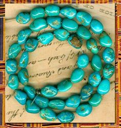 """Southwest Castle Dome Turquoise Nugget Beads 16"""" Strand All Natural Genuine 