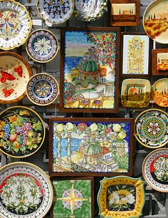 Italy: Amalfi Coast, colorful ceramic shops in Positano