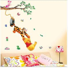 Wall Decor cartoon animals Tiger Pooh Bear Bees decal stickers 3D design kids room wall decor.  On wall: Width: 51 cm approx. Height: 86 cm approx. Material: PVC waterproof Do not need glue. Removable