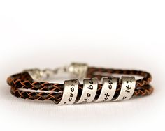 Women's Leather Bracelet Personalized Jewelry by PoppyDrops You can personalize the message!