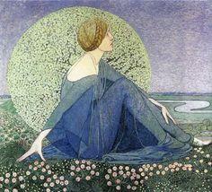 Art Nouveau illustration by Heinrich Vogeler Art And Illustration, Fantasy Kunst, Fantasy Art, Heinrich Vogeler, Pre Raphaelite, Oeuvre D'art, Female Art, Painting & Drawing, Illustrators