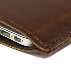 MacBook Air Leather Case / Sleeve  Dark Brown by MintCases on Etsy