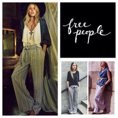 """Free People Wrap Around Stripe Pants.  NWT. Free People Wrap Around Striped Wide Leg Linen Blend Pants, 55% linen, 45% rayon, machine washable, 33"""" waist, 13"""" front rise, 17"""" back rise, 31"""" inseam, 23"""" leg opening all around, high rise, wrap around tie at waist, elastic at back waist, two front pockets, double hook, single button, and zip fly front closure, colors are bluish grey, white, black and tan, measurements are approx.  New without tag, never worn.  No Trades... Free People Pants…"""