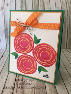 handmade greeting card ... stamped Swirly Bird in hot colors ... rule of three's design ... like the thin and thick matting ... Stampin' Up!