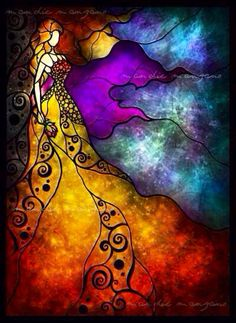 stained glass art woman