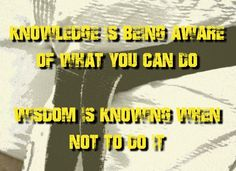 Knowledge is being aware of what you can do wisdom is knowing . Martial Arts Quotes, Martial Arts Techniques, What You Can Do, Helping People, Knowledge, Wisdom, Canning, Motivation, Movie Posters
