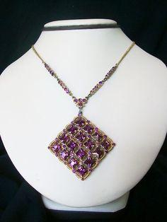 Elegant Vintage Art Deco Brass Chain Purple Rhinestone Pendant Necklace | eBay