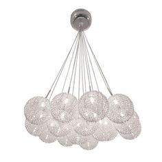 BAZZ Lume Series 15-Light Ceiling Mount Chrome Chandelier with Pendants Clear Balls Covered in a Metal Mesh-P12421CH at The Home Depot