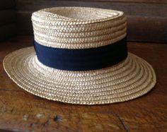 Vintage French Straw Boater Garden Hat // Black Grosgrain Ribbon