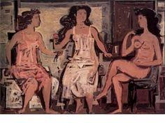Three women sitting by Yiannis Moralis. Renoir, Greek Paintings, Art Eras, Art Antique, Ecole Art, Painter Artist, Greek Art, 10 Picture, Art Database