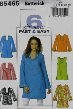 Butterick B5465 6 Sew Fast and Easy Tunics Pattern sizes 16-24