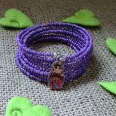 Purple Russian Doll Bracelet Beaded Memory Wire Bracelet £5.00