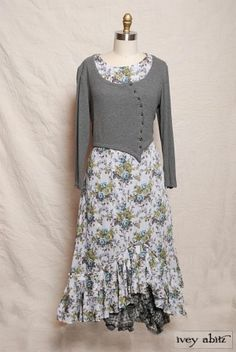 Fall 2013 Look No. 33  grey sweater with soft floral skirt