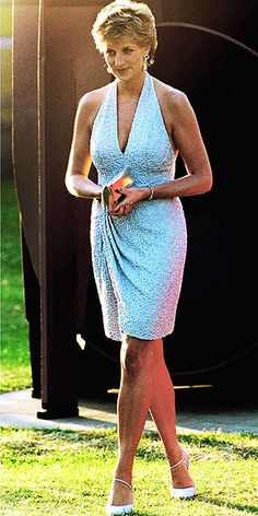 The mid-'90s saw a sexier, more relaxed Diana, in dresses like this beaded Catherine Walker halter worn to the Serpentine Gallery in 1995.
