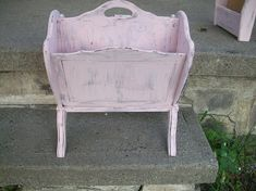 Wood Magazine Rack hand painted white pink or lavender