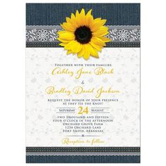 Sunflower, denim, and lace rustic country wedding invitation. Works for a country wedding, barn wedding, farm wedding, or sunflower wedding. Summer or fall.