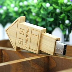 (9) Fancy - Wooden House USB Flash Drive