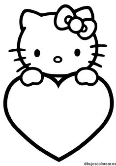Here are the Wonderful Hello Kitty Coloring Pages Printable Colouring Pages. This post about Wonderful Hello Kitty Coloring Pages Printable Colouring Pages . Cat Valentine, Valentine Drawing, Printable Valentine, Valentine Hearts, Hello Kitty Colouring Pages, Heart Coloring Pages, Free Printable Coloring Pages, Coloring Pages For Kids, Hello Kitty Drawing