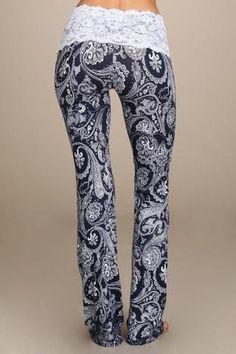 Lace Yoga Pant Navy Paisley