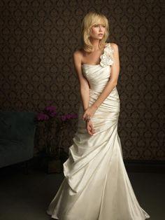 wedding dress, love the drop waist and one shoulder
