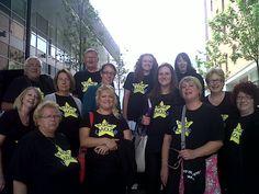 Members of Belper Rock Choir outside Liverpool Echo Arena before the Rock Choir Live event - 29 June 2013