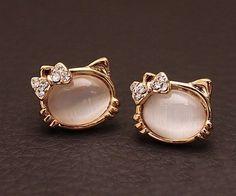 Fashion Cute Opal Cat Stud Earrings