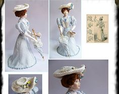 "Pauline, porcelain dollhouse doll :12th. Doll Handmade by "" Les Miniatures de Béatrice"""