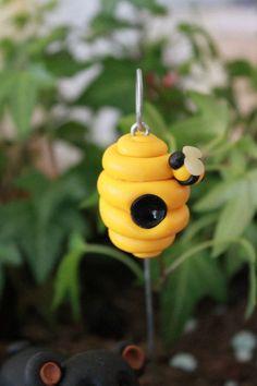 Polymer Clay Beehive - Mini Beehive - Terrarium Accessory - Fairy Garden Accessory - Miniature Garden - Garden Decoration