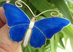 LARGE Norwegian Silver & Blue Enamel Butterfly Brooch - Aksel Holmsen Norway