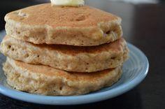 Bestie Banana Spelt Pancakes  2 c spelt flour  3 t baking powder  1/2 t sea salt  1 T sugar or maple sugar  2 eggs  4 T coconut oil  4 ripe bananas, mashed  1/2 c rice or almond milk  1/2 t vanilla  salted butter  real maple syrup