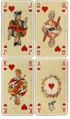 Wings of Whimsy: Antique French Playing Cards - Hearts - free for personal use by Alice H. Playing Cards Art, Vintage Playing Cards, Vintage Cards, Vintage Paper, Printable Playing Cards, Vintage Clocks, Printable Cards, Paper Journal, Journal Cards