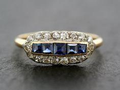 Art Deco Sapphire Ring - Antique Sapphire & Diamond 18ct Gold and Platinum Art Deco Ring