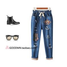 27.35$  Buy here - http://ai97q.worlditems.win/all/product.php?id=32765635523 -  women's Europe and the United States wind personality break hole embroidery Haren pants 2016 autumn loaded with new