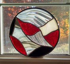 Abstract Round Stained Glass Window Panel  by StainedGlassYourWay