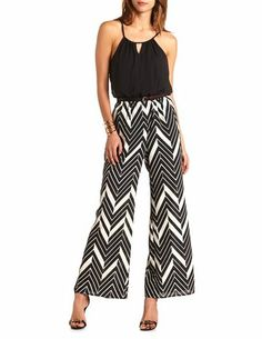 Belted Chevron Jumpsuit: Charlotte Russe. With a blazer, this would be great for work.