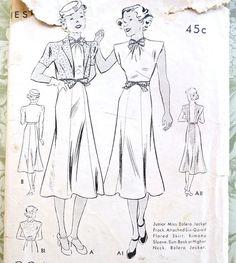 Butterick 7296 Vintage 1930s Womens Bolero Dress by Fragolina, $14.00