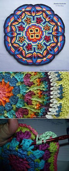 Ideas Crochet Rug Mandala Beautiful For 2019 Crochet Rug Patterns, Crochet Pillow Pattern, Crochet Mandala Pattern, Crochet Afghans, Crochet Squares, Crochet Doilies, Knitting Patterns, Doily Rug, Doilies Crafts