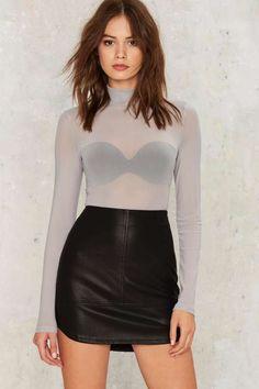 Mock Me Over Sheer Bodysuit - Gray - Tops