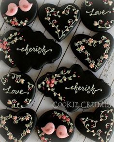 Floral Black Valentine's Day Cookies | Cookie Connection