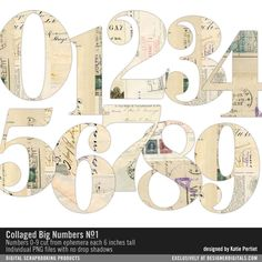 Collaged Big Numbers No. 01 collage art of mail art in big numbers #designerdigitals