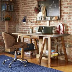 emerson sawhorse desk hutch from pottery barn teen for office den - Teen Desks